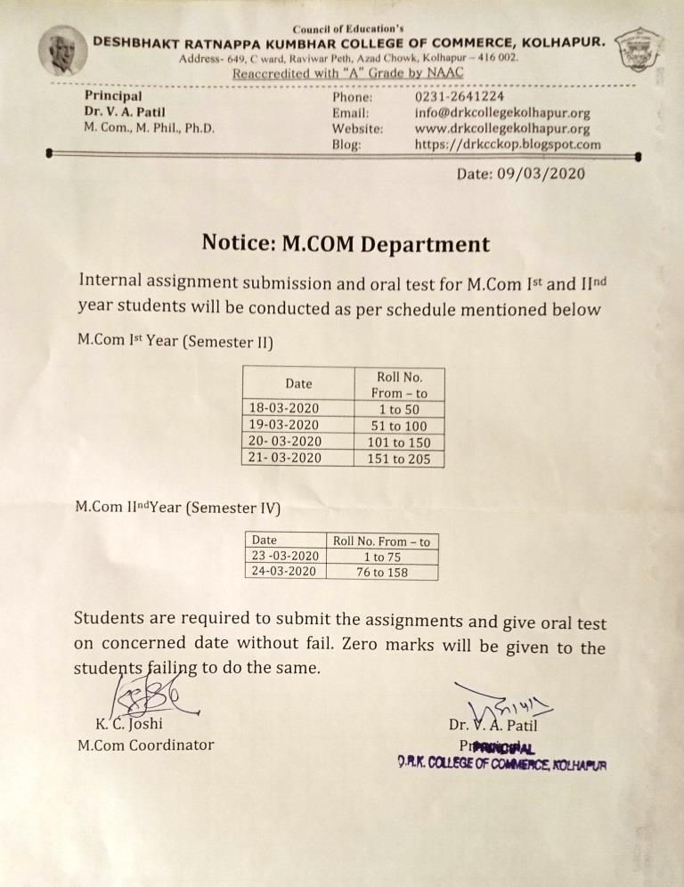 Notice- Internal Assignment Submission SEM II