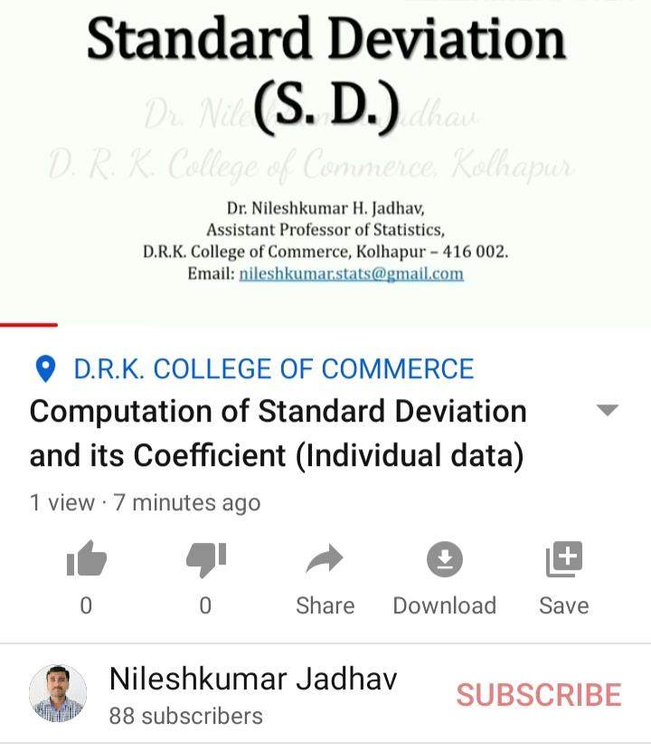Computation of Standard Deviation and its Coe