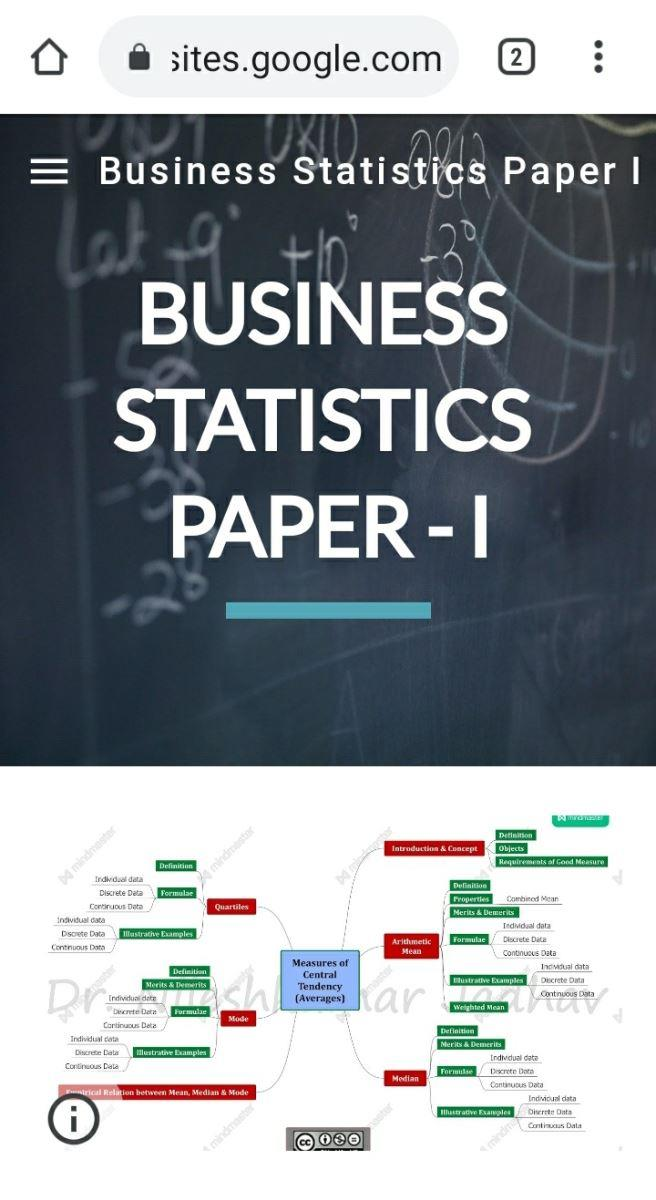 Online Course of Business Statistics Paper I