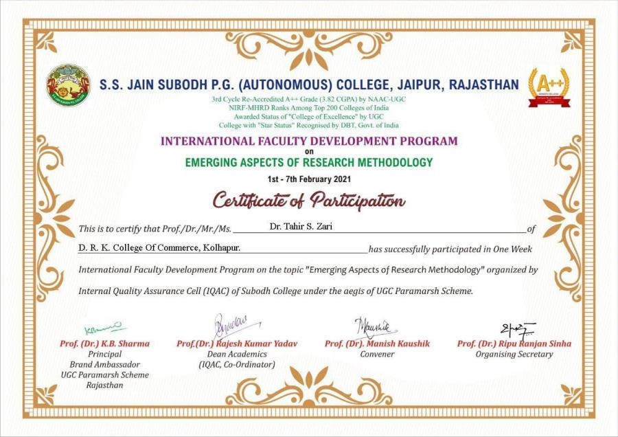 International FDP Dr. Tahir S. Zari successfully completed One Week International FDP.