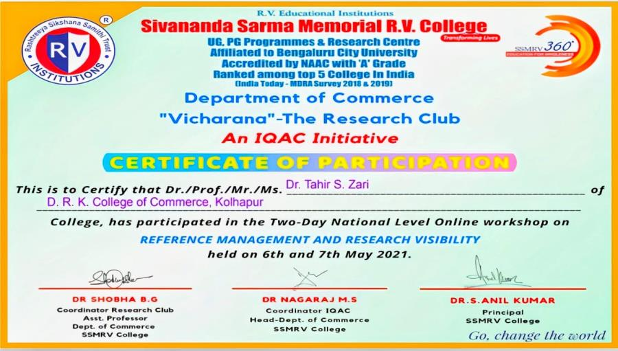Two Day National Workshop from Top 5 colleges in India-  Dr. Tahir S. Zari completed successfully